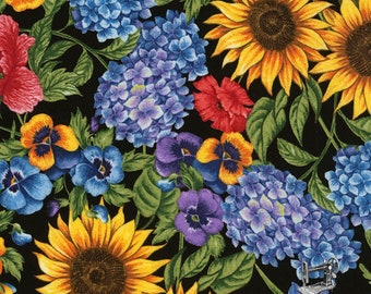 1/2 yd Garden Journal Floral Ruth by Timeless Treasures Fabric Collection C5452 Black