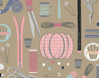 1/2 yd Crafters Gonna Craft Sewing Notions by Whistler Studios for Windham Fabrics 51034-3