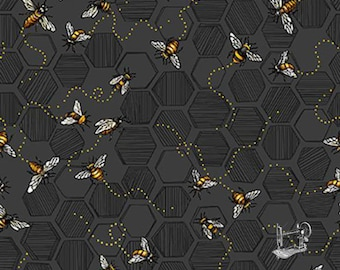 Bee Kind Charcoal Honey Bees Fabric // Paintbrush Studio by the Half Yard