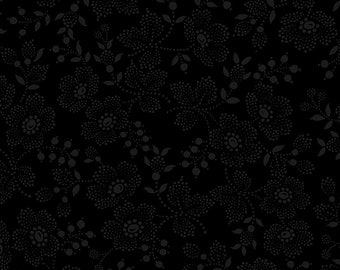 Flower Dots Frosting Hue Basic Fabric // Timeless Treasures C7104 Black by the HALF YARD
