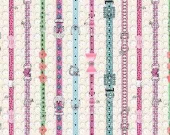 SALE Kitty Glitter Cat Collar Stripe by Studio E Fabrics 4342-42 Cream PER yard