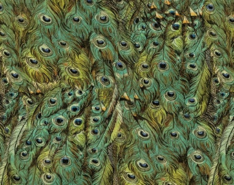 1/2 yd Peacock Arbor Peacock Feathers Fabric by David Textiles DATWA-4026-5C-1