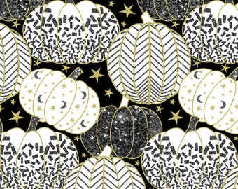 1/2 yd Midnight Spell Metallic Pumpkin Outline Fabric by First Blush Studio for Henry Glass 6955M-99
