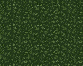 1/2 yd Christmas Delivery Sprigs by Carta Bella Paper Co for Riley Blake C7334-GREEN