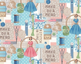 1/2 yd A Stitch in Time Main by Whistler Studios for Windham Fabrics 51509-X