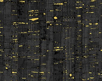 1/2 yd Uncorked Black Cotton Print Cork Like Appearance w/Metallic by Another Point of View for Windham Fabrics 50107M-1
