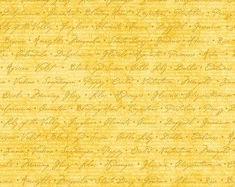 1/2 yd Jardin Du Soleil Floral Script Fabric by Wilmington Prints 3022 32064 551 Yellow