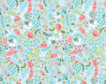 1/2 yd Home Sweet Home Forest Flora by Stacy Iest Hsu for Moda Fabrics 20574 15 Sky