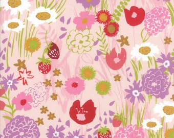 Moda Growing Beautiful Floral Wildflowers Fabric Pink by Crystal Manning by the Half Yard 11830 13