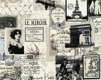 1/2 yd Paris News Letters From Paris Noir by Timeless Treasures Fabrics C9149 Cream