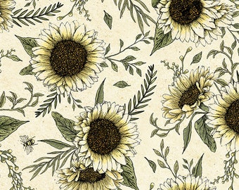 1/2 yd BEE Hive Rules Sunflowers by Timeless Treasures Fabric C7174-Natural