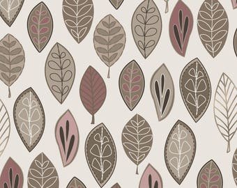 1/2 yd Neutral Ground Floating Leaves by Maywood Studio MAS8311-P