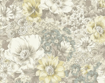 1/2 yd Nature's Harmony Large Floral by Quilt Gate Fabrics QUGGF5110-11B