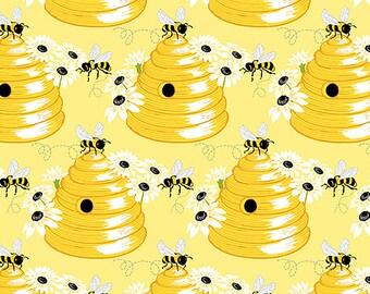 Sunny Bee Bee Hive by Andover Fabric per Half Yard A-9435-Y