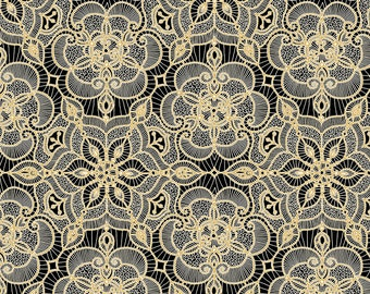 1/2 yd Luminous Lace Medallion Fabric from Quilting Treasures 24432 -J BLACK