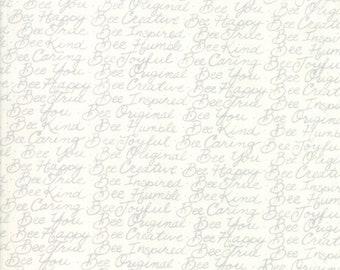1/2 yd Bee Joyful Bee Words by Deb Stain for Moda Fabrics 19876 11 Laurel White