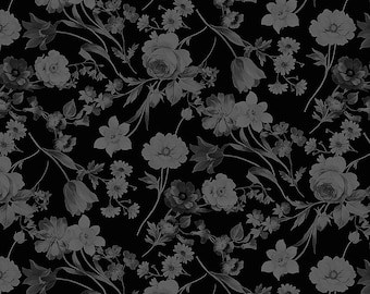 1/2 yd Afternoon Picnic Tonal Floral Fabric by Nancy Zieman Productions for Penny Rose // Riley Blake Designs C7632 Black