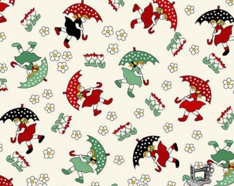 1/2 yd A Walk in the Park Umbrella Girls by Kim's Cause Collection for Maywood Studio MAS8810 R