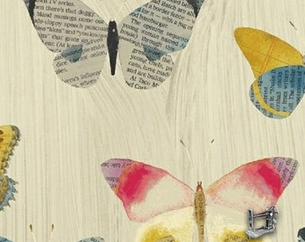 1/2 yd Wonder Sand Newspaper Butterflies by Carrie Bloomston for Windham Fabrics 50515-1