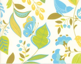 1/2 yd Wing Leaf Floral Birds Branches by Gina Martin for Moda Fabrics 10060 21