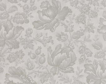 "END of BOLT 14"" Whitewashed Cottage Floral Damask Grey by 3 Sisters for Moda Fabrics 44062 14 Pebble"