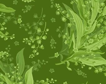 "END of BOLT 30"" Greenery Tonal Lily Fabric by Maywood Studio MAS8293-G"