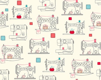 Sew What Sewing Machines Fabric // Ink & Arrow // Quilting Treasures by the Half Yard
