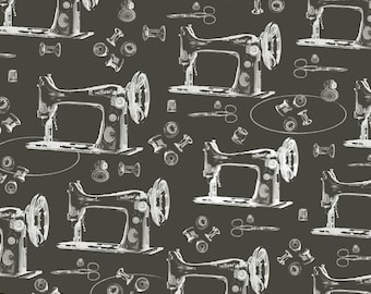 1/2 yd A Time to Mend Sewing Machines by Peggy Brown for In The Beginning Fabric IBFTTM4PBA-2 Black