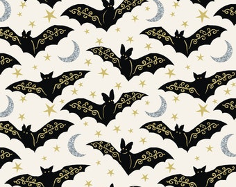 1/2 yd Midnight Spell Metallic Bats Fabric by First Blush Studio for Henry Glass 6954M-44