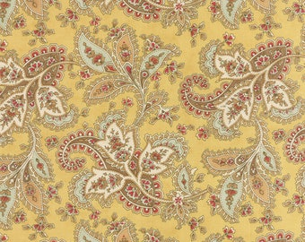 """END of BOLT 20"""" Larkspur Floral Paisley by 3 Sisters for Moda Fabrics 44101 12 Straw"""