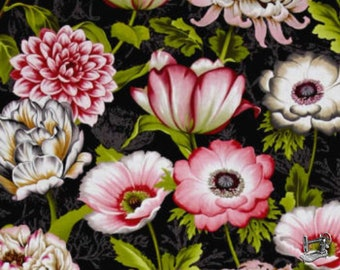1/2 yd Tivoli Garden Large Main Floral Fabric by Anne Rowan for Wilmington Prints 68402-931