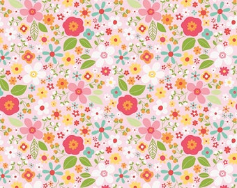 "REMNANT 16"" Garden Girl Floral Fabric // Riley Blake Designs C5662-PINK"