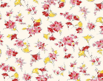 1/2 yd Lily Main Cream Floral Fabric by Sue Penn for Riley Blake/Penny Rose C5930-CREAM