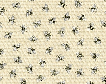 1/2 yd BEE Hive Rules Tossed Bees by Timeless Treasures Fabric C7173-Natural