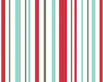1/2 yd SALE Riley Blake Primrose Garden Stripe Red Fabric by Carina Gardner C4046