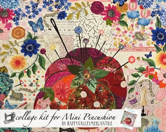 Mini Pincushion Fabric Collage Quilt Kit for Laura Heine's Collage Pattern LHFWMINIPIN