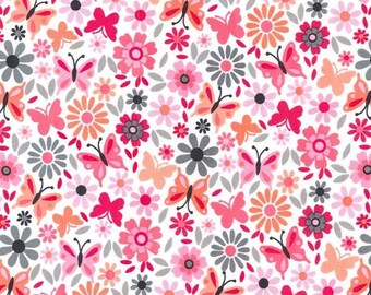 1/2 yd Michael Miller Little Dee Da Contemporary Floral Fabric CX7366-LOVE-D
