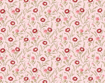 "REMNANT 17"" Rhapsody In Reds Tiny Wildflowers Fabric // Kaye England // Wilmington Prints 1803 98653 320 Pink"