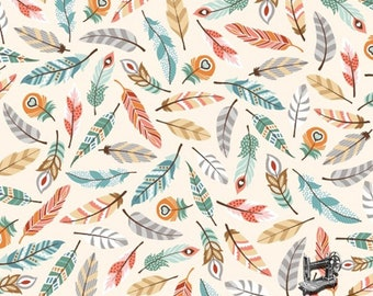1/2 yd Camp-A-Long Critters Feathers by Studio E Fabrics 4005-44