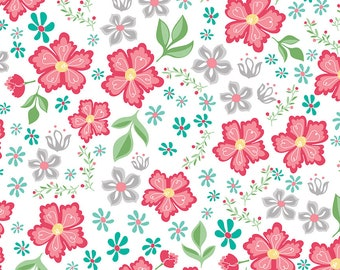 1/2 yd Flora & Fawn Main Floral Fabric by Amanda Herring for Riley Blake Designs C6730-WHITE