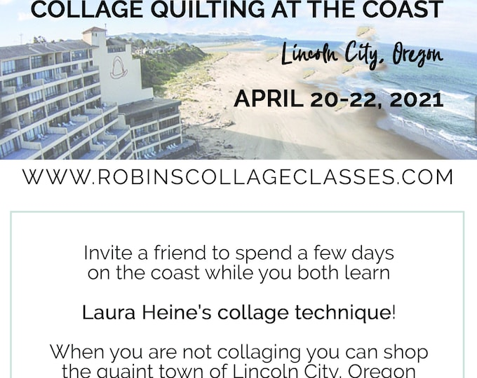 Featured listing image: Collage Quilting Retreat on the Oregon Coast // Certified Laura Heine Instructor