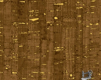 1/2 yd Uncorked Chocolate Cotton Print Cork Like Appearance w/Metallic by Another Point of View for Windham Fabrics 50107M-5