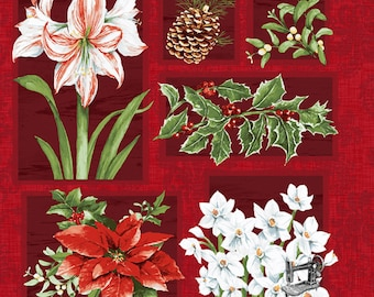Holidays Remembered Floral Panel by Barb Tourtillotte for Clothworks Y2401-52