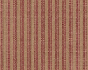 Rustic Woven Homespun Ticking Fabric by the Half Yard Textile Creations #586