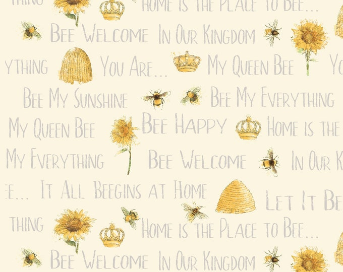 1/2 yd Bee My Sunshine Words by Katie Pertiet for Whistler Studios & Windham Fabrics 43316-3