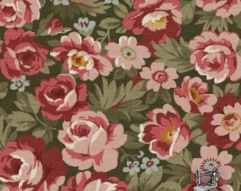 1/2 yd Legendary Loves Green Floral by Nancy Gere for Windham Fabrics 42969-4