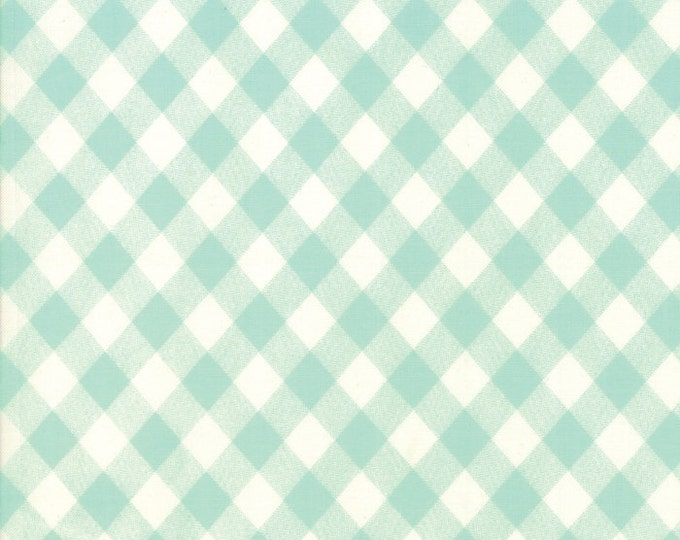 "END of BOLT 15"" Basic Gingham by Bonnie & Camille for Moda Fabric 55124 35 Aqua"