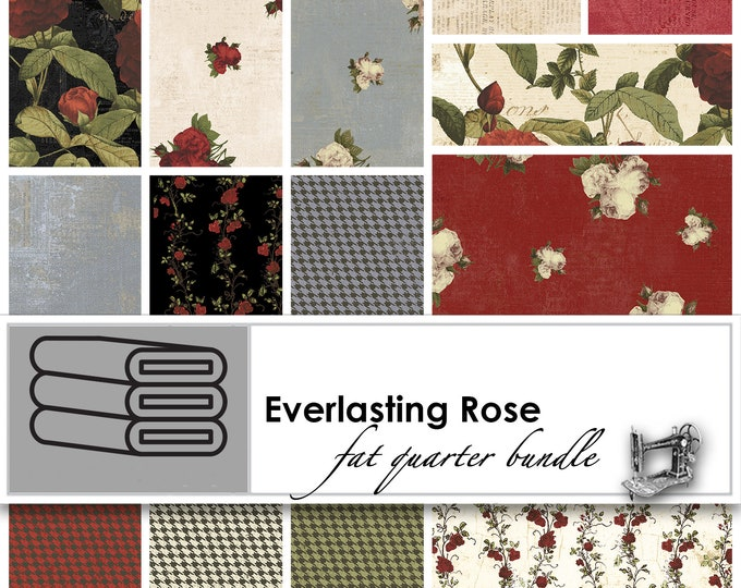 FREE SHIPPING Everlasting Rose Fat Quarter Bundle by Iron Orchid Designs for Clothworks FQ0195