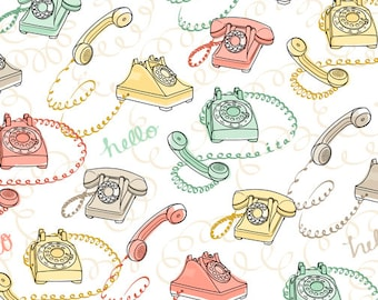 1/2 yd Talk to Me Rotary Phones Fabric by Ink & Arrow for Quilting Treasures  24341 -Z