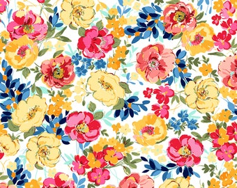 1/2 yd Penelope Stylized Floral Fabric by JuneBee for Quilting Treasures 26551 -Z
